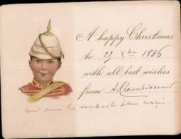 JOLI FAIRE PART ILLUSTRE DATE DU 25.12.1886 _ JOYEUX NOEL - Faire-part