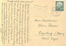 Heuss 30 Pfg Einzelfrankatur Auf Postkarte In Die Schweiz - Briefe U. Dokumente