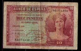 BILLETE DE 10 PESETAS DE 1935 - SERIE A - 10 Pesetas
