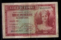 BILLETE DE 10 PESETAS DE 1935 - SERIE B - 10 Pesetas