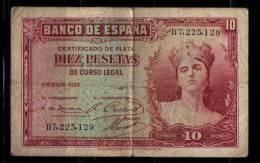 BILLETE DE 10 PESETAS DE 1935 - SERIE B - [ 2] 1931-1936 : République