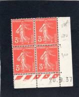 France :bloc De 4 TP Avec Coin Daté N°278A - 1930-1939