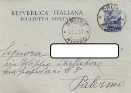 $3-2386- Biglietto Postale Democratica Lire 20 Da Orune  A Palermo - 6. 1946-.. Repubblica