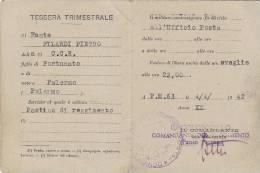 $3-2388 - Tessera Postino Di Reggimento Posta Militare P.M. 63 Santa Ninfa - Palermo 1942 - 1939-45