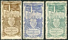 LOTTO 3 ERINNOFILI INAUGURAZIONE DEL SERVIZIO AFFISSIONI BOLOGNA ANNO 1908 - Cinderellas
