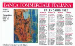 CALENDARIETTO PLASTIFICATO  PUBBLICITARIO -BANCA COMMERCIALE ITALIANA ANNO 1992 - Calendari
