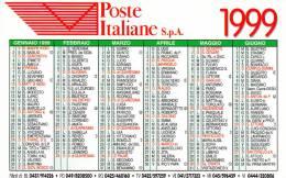 CALENDARIETTO PLASTIFICATO  PUBBLICITARIO -POSTE ITALIANE -ANNO 1999 - Calendari