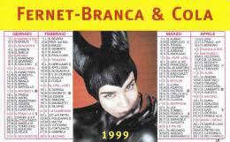 CALENDARIETTO PLASTIFICATO  PUBBLICITARIO -FERNET BRANCA & COLA -ANNO 1999 - Calendari