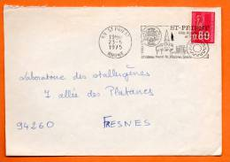 FLAMME 69 ST PRIEST       CHATEAU HENRI  IV   23 / 6 /1975   Lettre Coupée 160x110 N° B 693 - Postmark Collection (Covers)