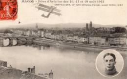 MACON FETES D AVIATION DES 16 17 ET 18 AOUT 1912 CHEVILLIARD SUR HYDRO-AEROPLANE FARMAN - Macon
