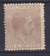 ## Philippines 1880 Mi. 75 A     10 Cs König Alfons XII., MH* - Philipines