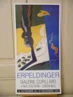 ERPELDINGER, Abstrait,  Affiche De Galerie, 2001, Sur Papier Fort Glacé,  Totalement Neuve - Affiches