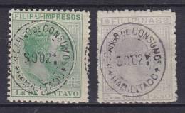 ## Philippines 1887/89 Mi. 118, 120 König Alfons XII. Overprinted HABILITADO / PARA COMUNICACIONES, MH* / MNG - Philipines