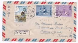 Lettre Recommandée De Taipei Pour Auxerre 1965 - 1945-... République De Chine