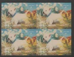 Umm Al Qiwain (1972) 3D - Block Of 4 -   /  Dogs - Perros - Hunde - Chiens - Perros