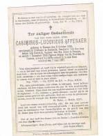MENEN - OOSTENDE - KORTRIJK - VEURNE ,doodsprentje Van PASTOOR Casimirus AFFENAER + 1887 - Historical Documents