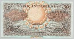 1959 INDONESIA Paper Money 50 Rupiah P-68 Circulated - Indonésie