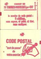 """CARNET 1972-C 3 Sabine De Gandon """"CODE POSTAL"""" Conf.6 Ou 8 Au Choix Fermé Parfait état RARE Et Peu Proposé - Usage Courant"""