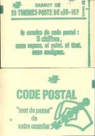 """CARNET 1970-C 1 Sabine """"CODE POSTAL"""" 20 Timbres Fermé état Parfait Bas Prix RARE Et Peu Proposé - Usage Courant"""