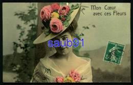 Jolies  Femmes -  Beau Portrait Femme  Avec Chapeau  - Mon Coeur Avec Ces Fleurs - Réf : 27179 - Femmes