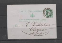 Carte Postale De 1879 De Verviers Vers Cologne Allemagne - Postwaardestukken