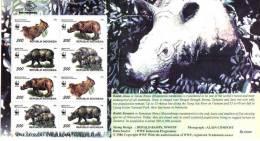 WWF  M/S INDONESIA Rhino 1996 - Petit Feuille INDONÉSIE Rhinocéros
