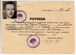 H CONFIRMATION OF THE CONTROL OF RAILWAY FNRJ JUGOSLAVIA OSIJEK CROATIA - Historical Documents