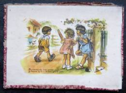 """Image De Germaine Bouret """" Les Petites Filles Au Pain"""" Sous Verre D'époque Taille 17,5x13cm - Old Paper"""