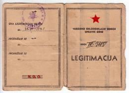 H PEOPLE'S LIBERATION BOARD IDENTITY CARD FNRJ JUGOSLAVIA SPLIT CROATIA - Historical Documents