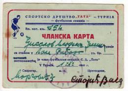 H MEMBERSHIP CARD SPORTS COMPANY TATA FOOTBALL FNRJ JUGOSLAVIA TURIJA SERBIA - Historical Documents
