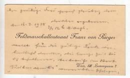 H BUSINESS CARDS WITH ORIGINAL MANUSCRIPT FROM FELDMARSCHALLEUTNANT FRANZ VON RIEGER WIEN AUSTRIA - Historical Documents