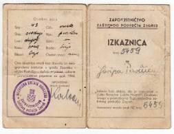 H COMMAND CONSERVATION AREA ZAGREB IDENTITY CARD NDH ZAGREB CROATIA - Historical Documents
