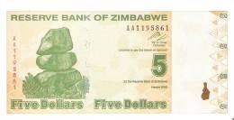 BILLETE DE ZIMBAWE DE 5 DOLARES DEL AÑO 2009 SIN CIRCULAR-UNCIRCULATED  (BANKNOTE-BANK NOTE) - Zimbabwe