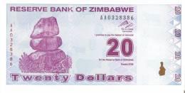 BILLETE DE ZIMBAWE DE 20 DOLARES DEL AÑO 2009 SIN CIRCULAR-UNCIRCULATED  (BANKNOTE-BANK NOTE) - Zimbabwe