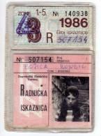 H WORKERS IDENTITY CARD FOR URBAN TRANSPORT ZET SFRJ JUGOSLAVIA ZAGREB CROATIA - Historical Documents