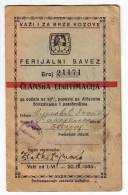 H MEMBERSHIP CARD OF YOUTH UNION TO PURCHASE TICKETS FOR TRAIN WITH 50% DISCOUNT KINGDOM OF JUGOSLAVIA BEOGRAD SERBIA - Historische Dokumente