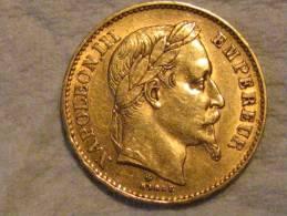 20 Francs OR Napoléon III ( Tete Laurée )1869 Grand BB, Graveur- Albert Désiré BARRE - Or