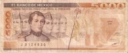 BILLETE DE MEXICO DE 5000 PESOS AÑO 1987  (BANKNOTE) - México
