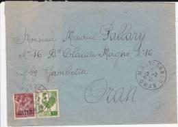 ALGERIE - 1946 - ENVELOPPE De MOSTAGANEM Pour ORAN - IRIS + COQ - Lettres & Documents