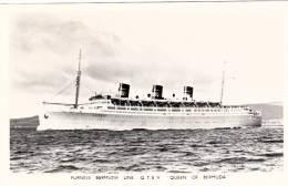 Carte Photo - Real Picture - Bateau Paquebot Queen Furness Bermuda Line Liner - État TB - Steamers