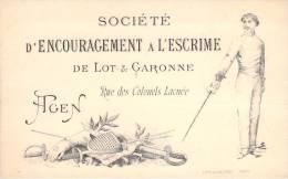 47 - Agen - Carte De Sociétaire , Société D'Encouragement à L'Escrime De Lot-&-Garonne, Rue Des Colonels Lacuée (lit - Escrime