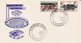 LETTRE PREMIER JOUR -JEUX OLYMPIQUES- ROME -TOKIO MAURITANIE N° 154C ET 154D - Mauritanie (1960-...)