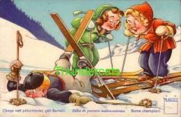 CPA ILLUSTRATEUR MINOUVIS ENFANT SKI ** ARTIST SIGNED CARD CHILDREN SKI - Sports D'hiver