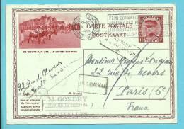Postkaart (DE-ZOUTE-AAN-ZEE) Met Stempel BRUXELLES Naar PARIS (France), Met Stempel INCONNU + RETOUR - Stamped Stationery