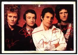 Alte Reproduktion Autogrammkarte  -  Gruppe Queen  -  Von Ca. 1982 - Autogramme