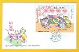 Vietnam: Year Of The Cat - 1999 FDC S/S Sheet - Chinese New Year