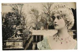 Nîmes - Les Bains Romains - Portrait Buste Belle Jeune Femme Royale - Colorisée - Ecrite / Timbrée 1906 - Nîmes