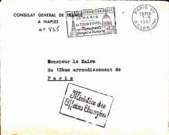 ITALIE - 1961 - ENVELOPPE Du CONSULAT De FRANCE à NAPLES - Affrancature Meccaniche Rosse (EMA)