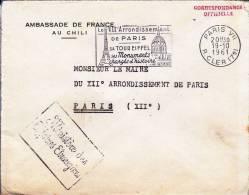 CHILI - 1961 - ENVELOPPE De L´AMBASSADE De FRANCE à SANTIAGO - Chili
