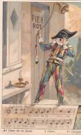 21205 Chocolat De Guyenne. Chanson Au Clair De La Lune. 4 Sujet 1er Couplet ; Arlequin 6x10cm - Non Classés